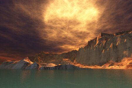 Rudes Seascape - A huge sun shines through dense brown clouds on this beautiful seascape  Фото со стока