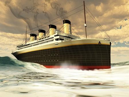 타이타닉 배 - 처녀 항해에 그 비극적 인 침몰하기 전에 역사의 큰 unsinkable 배