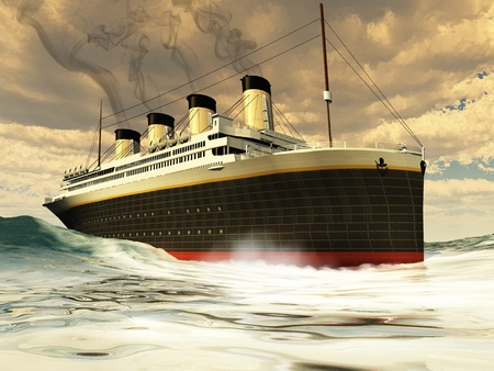 Titanic Ship - The great unsinkable ship of history before its tragic sinking on its maiden voyage  photo