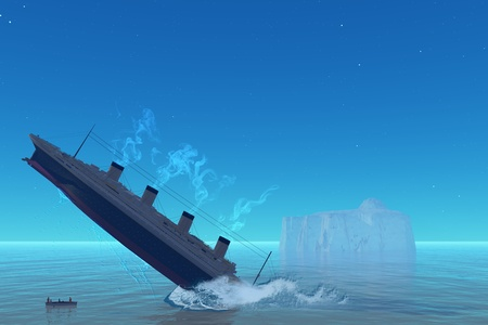 3d illustraion of ship sinking photo