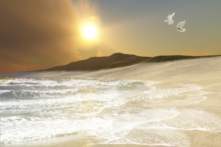 Ares Seascape - Two white doves fly over racing waves coming to shore on this remote beach  Фото со стока