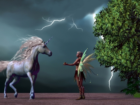 enchanted forest: Fairy and Unicorn - A fairy offers a frightened unicorn stag an apple to get him back into the enchanted forest during a thunderstorm