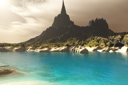 spire: Mora Seascape - Turquoise waters of this sea inlet enhance the striking features of a nearby mountain spire  Stock Photo