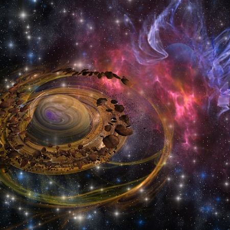 Planet Formation - Rocks as big as mountains swirl around and form a planet in the cosmos Stock Photo - 13748139