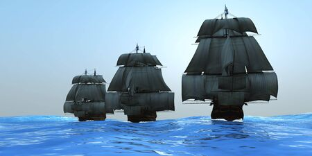 Ships in Sail - Three tall ships in full sail cross a large ocean with glistening blue waters