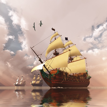 Ancient Ships - Three tall ships in full sail cross a large ocean with glistening calm seas