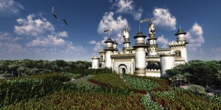 castillo medieval: Castillo Real - Dos �guilas calvas sobrevolar magn�fico castillo rodeado de jardines