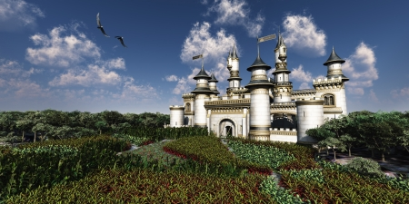 Castle Royal - Two Bald Eagles fly over magnificent castle surrounded by gardens  photo