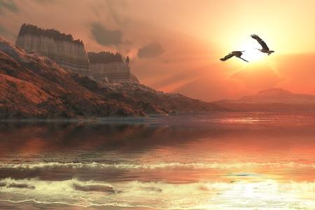 aguila calva: Marina del fantasma - una hermosa puesta de sol capta la fuga de dos águilas calvas que vuelan a lo largo de una costa montañosa