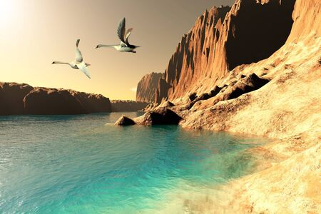 Quasimodo Seascape - Two Mute Swans take flight after resting at this wilderness seashore Фото со стока - 13914513