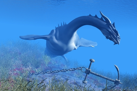 myth: Sea Dragon 01 - A fearsome Sea Dragon checks out an anchor and chain in the coastal seas