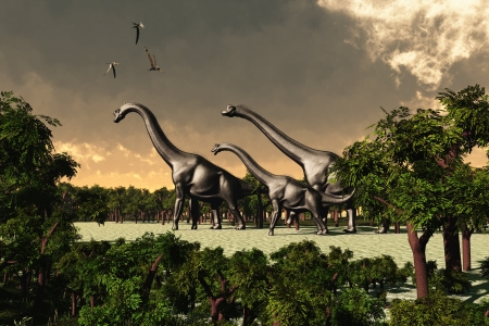 Brachiosaurus 02 - Three Brachiosaurus dinosaurs walk through a forested area while three Pterosaurs fly overhead