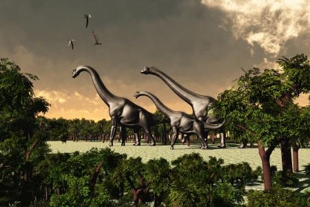 dinosaur: Brachiosaurus 02 - Tre dinosauri Brachiosaurus a piedi attraverso una zona boschiva mentre tre pterosauri volano sopra la testa Archivio Fotografico