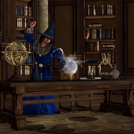 Magician 01 - A wizard makes a magic potion brew in his library full of books  photo