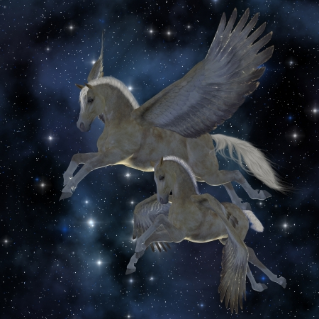 myth: Pegasus 04 - A Palomino Pegasus mare and foal fly among the stars on magical wings