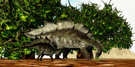 stegosaurus: Stegosaurus 03 - A Stegosaurus baby looks to its mother to find the best eating foliage