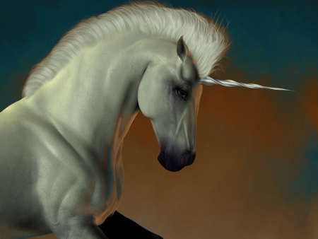 horsepower: Unicorn 03 - A white unicorn stallion of folklore prances showing his strength and power  Stock Photo