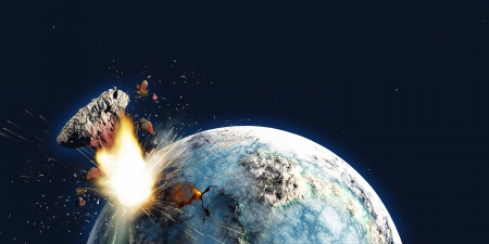 Apocalypse - The Earth explodes from the inside and blows out a portion of the planet in the apocalypse on December 21, 2012 Stock Photo - 14930033
