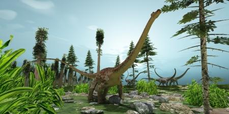 Diplodocus Wereld - Een kudde van Diplodocus dinosaurussen knabbelen hun weg langs hun trekroute