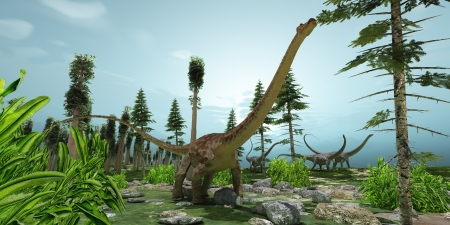 diplodocus: Diplodocus World - A herd of Diplodocus dinosaurs munch their way along their migration route