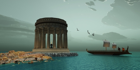 clipper: Greek Temple - A ship passes close to a  beautiful Greek temple on the coast of this island