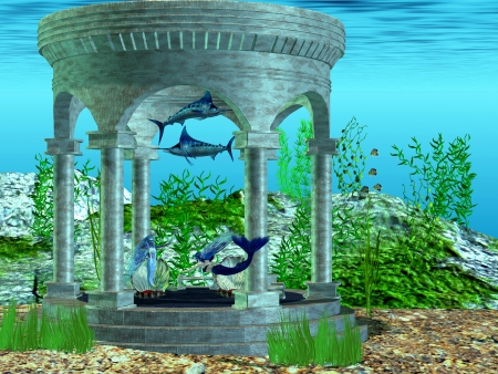 Mermaid Home - Two mermaids make their home in a structure under the ocean  photo