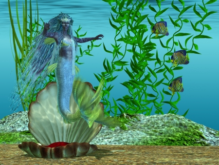 arises: Mermaid Theadora - A beautiful blue mermaid arises for her shell bed in the morning under the sea  Stock Photo