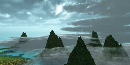 seawater: Mountains in the Clouds - Mist surrounds mountain peaks as the day begins in this tropical landscape