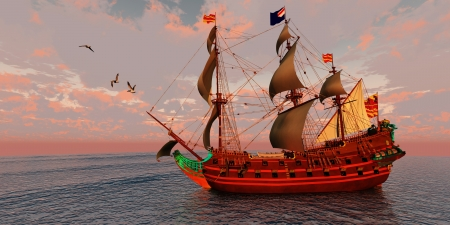brigantine: Sailing Ship - A brigantine ship sails on a journey to a distant port on a beautiful summer day