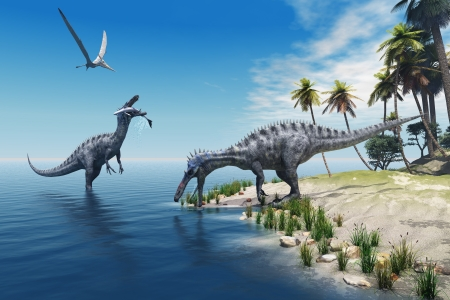 Suchomimus Dinosaurs - A large fish is caught by a Suchomimus dinosaur while a flying Pterosaur dinosaur watches for scraps to eat