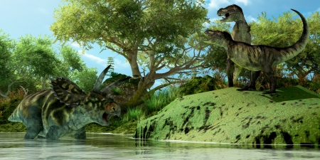 prehistoric: T-Rex Defiance - Two Tyrannosaurus dinosaurs roar in frustration as Coahuilaceratops dinosaur uses the water as a refuge from attack