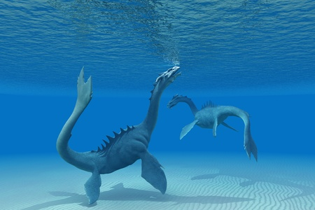 myth: Two Sea Dragons - A Sea Dragon goes up to the ocean surface for a breath of air