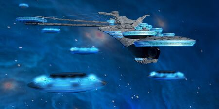 come back: Blue Nebula Expanse - Flying saucers come back to a spaceport near a blue nebula in space  Stock Photo