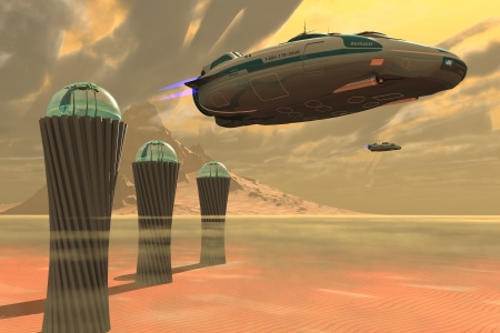 spaceport: Desert Planet - Two spacecraft takeoff from a colony which produces vegetation on a desert planet