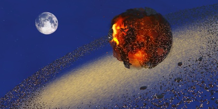 hits: Earth 2012 - The Earth lays in ruins after an asteriod hits the planet in 2012  Stock Photo