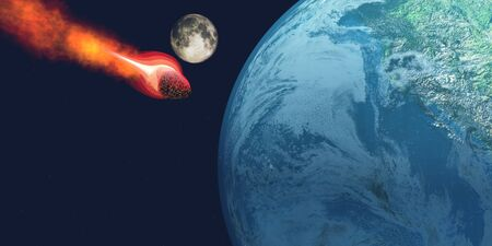 Earth hit by Asteroid - The Earth is about to be hit by an unknown white hot asteroid  Stock Photo - 15532064