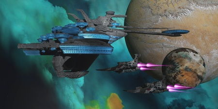 a battleship: Green Nebular Expanse - Two spacecraft return from a mission to a spaceport in orbit around an alien planet and its moon