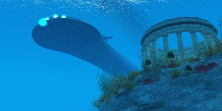 Submarine - A submarine passes over a Greek temple ruin near a reef with sea life  photo