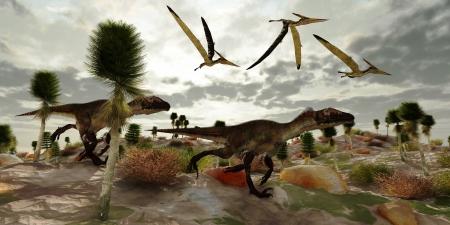 dinosaurio: Utahraptor Hunt - Tres dinosaurio reptil Pterosaur volar a lo largo y ver dos Utahraptors como cazan a participar en la matanza Foto de archivo