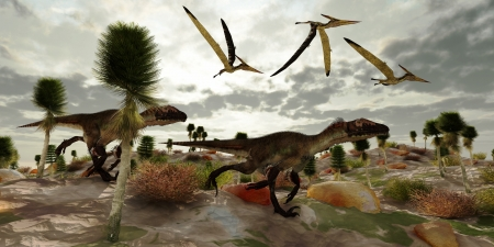 Utahraptor Hunt - Three Pterosaur reptile dinosaur fly along and watch two Utahraptors as they hunt to share in the kill