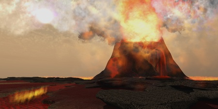 Volcano Fire - Red hot lava rolls out of the mouth of an erupting volcano full of fire and brimstone Stok Fotoğraf - 15532062