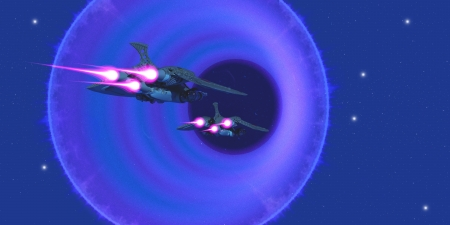 wormhole: Wormhole - Two spaceships enter a wormhole on outer space to get to a universe in another part of the galaxy