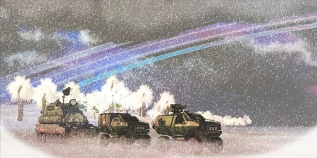 convoy: Alien Winter Storm - A military convoy crosses a frozen lake on an alien planet in a severe winter storm  Stock Photo