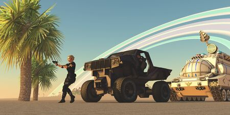 convoy: Convoy on Alien Planet - A female soldier draws her gun at an alien presence on a distant planet with rings orbiting in the sky