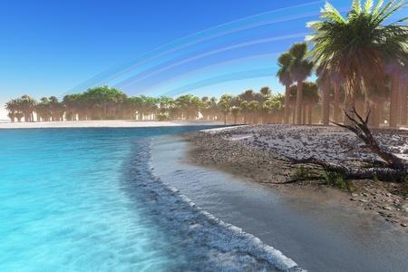 Jungle Beach - A rainbow after a rain fills the sky of this tropical beach