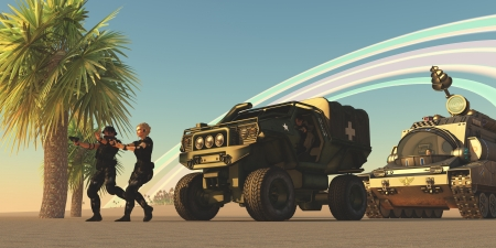 special forces: Military on Alien Planet - Two Special Forces personnel draw their guns on an unknown enemy