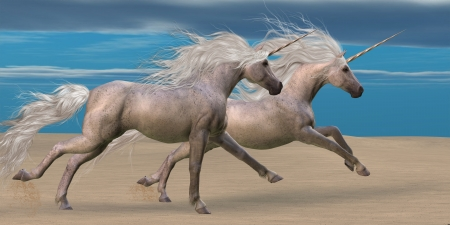 Unicorns - Two white unicorn horses gallop together in the desert