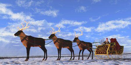pere noel: Père Noël - Père Noël se prépare à décoller avec ses rennes et traîneau à remettre des présents à toutes les filles et les garçons du monde