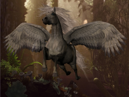 Flying Pegasus - A white Pegasus horse flies up to the sky through a dense forest