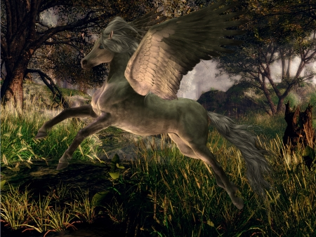 creature of fantasy: Forest Pegasus - A golden white Pegasus flies through a forest on magical wings  Stock Photo